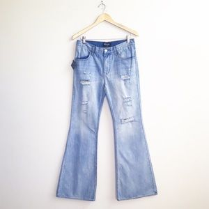 Nasty Gal : Distressed Flare Jeans Size 29 NWT